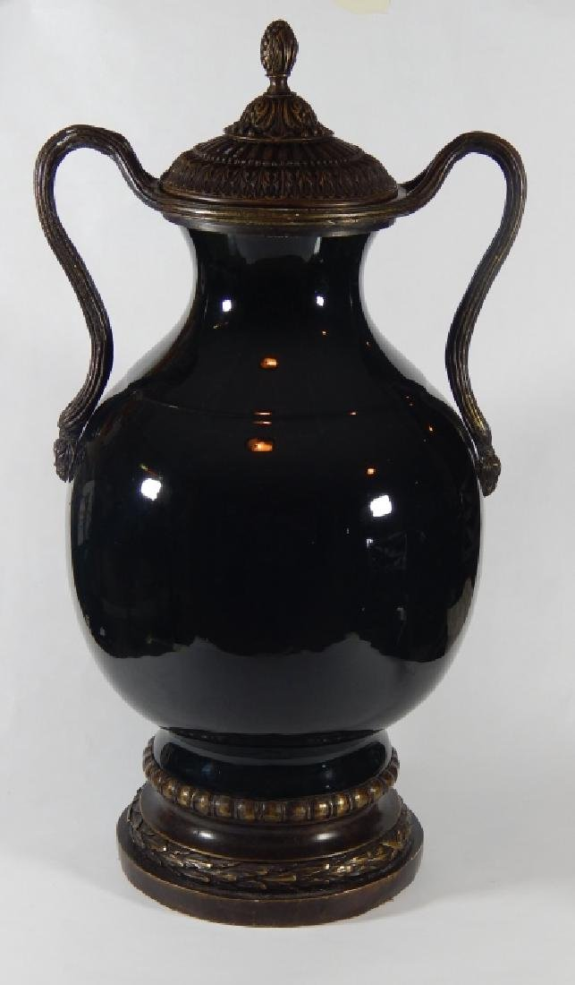 LARGE THEODORE ALEXANDER PORCELAIN AND BRONZE URN