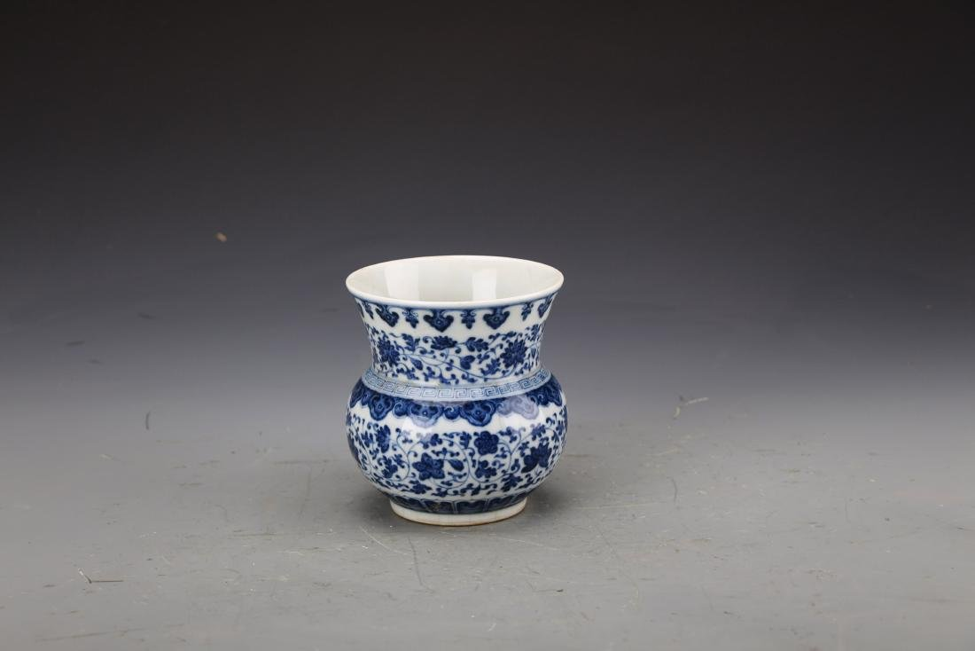 Chinese Blue and White Vase Painted with Twine Lotus