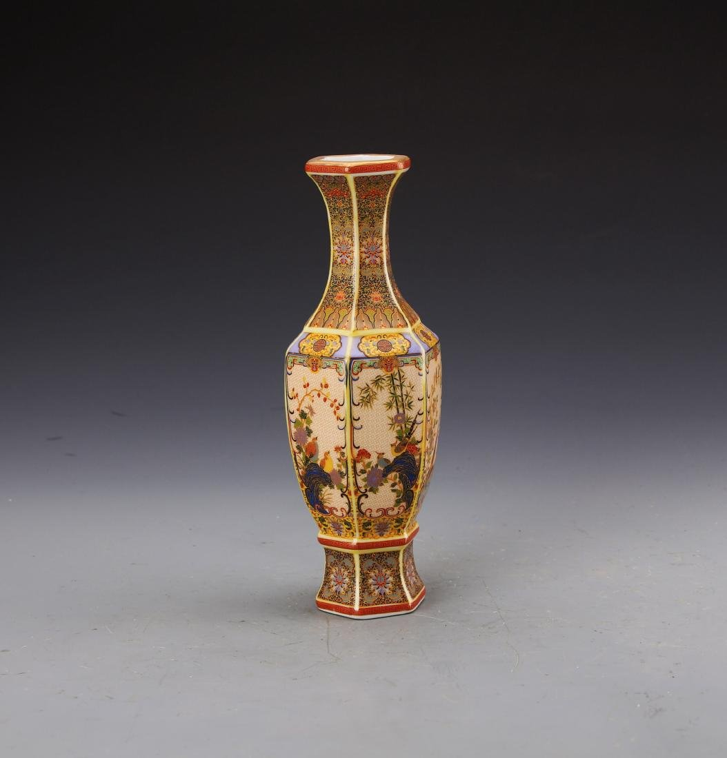 Chinese Famille Rose Vase Painted with Flowers and