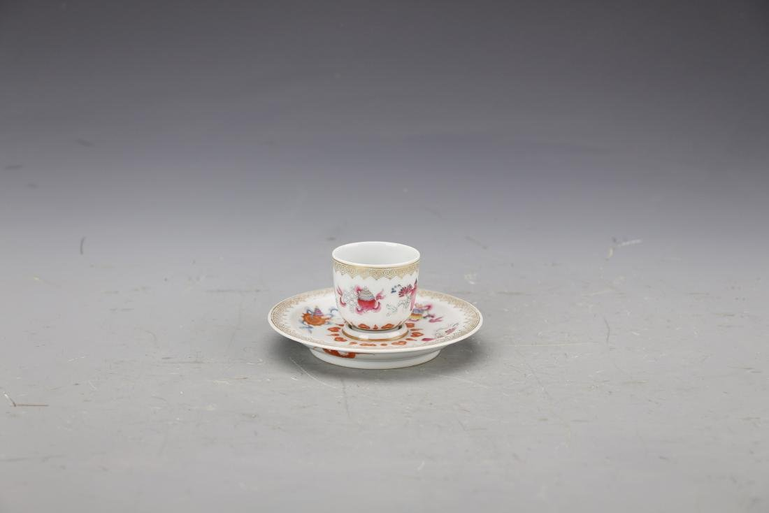 Chinese Famille Rose Cup and Holder Painted with Fruits