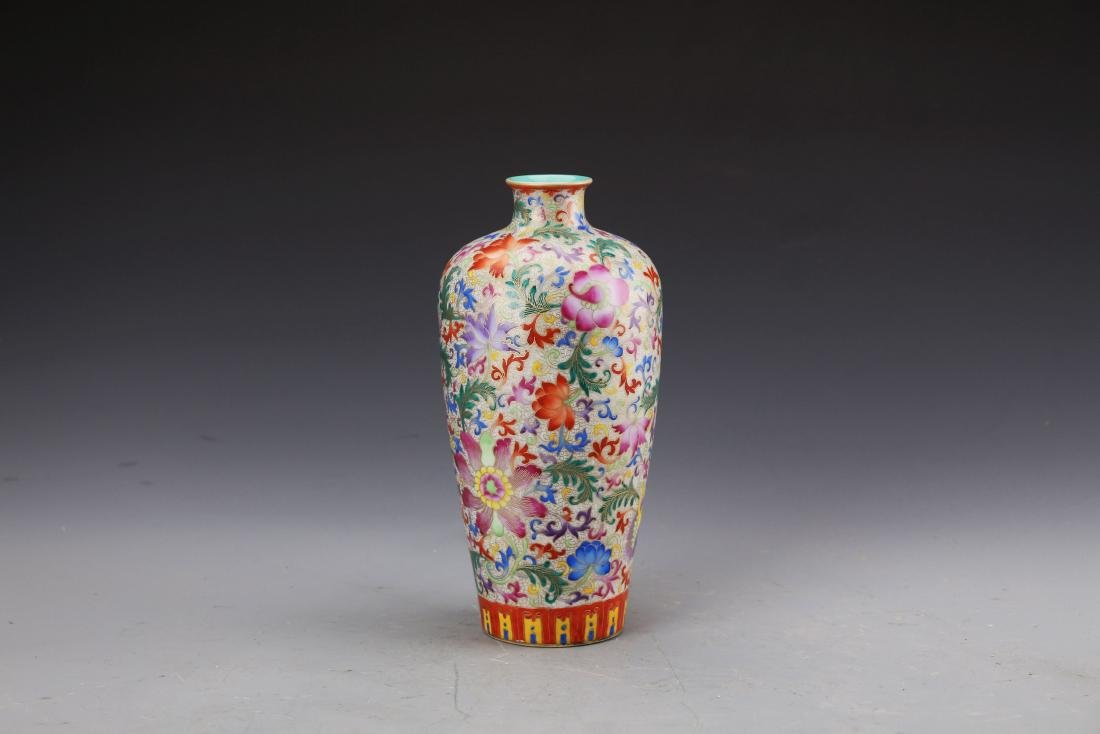 Chinese Famille Rose Mei Vase Painted with Twine