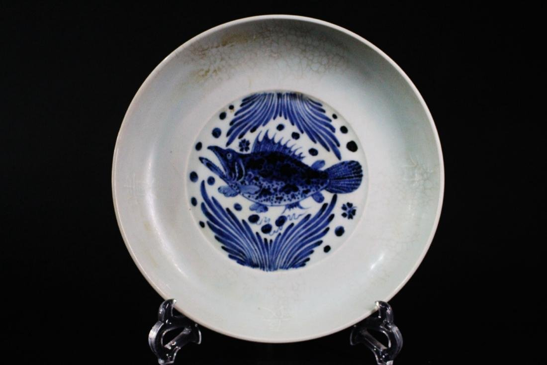 Chinese Ming Styled Blue and White Charge Painted with