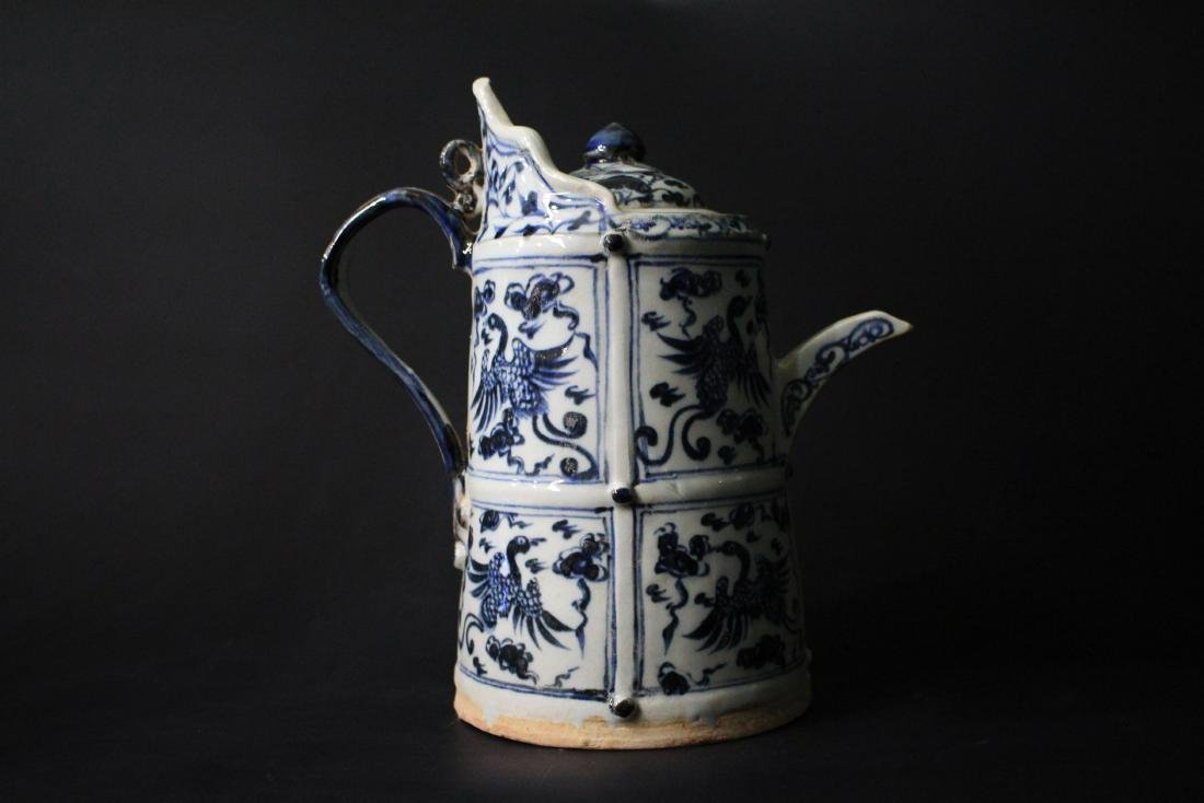 Chinese Ming Styled Blue and White Winepot Painted with