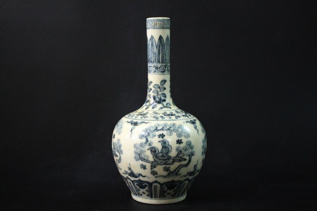 Chinese Ming Styled Blue and White Vase Painted with