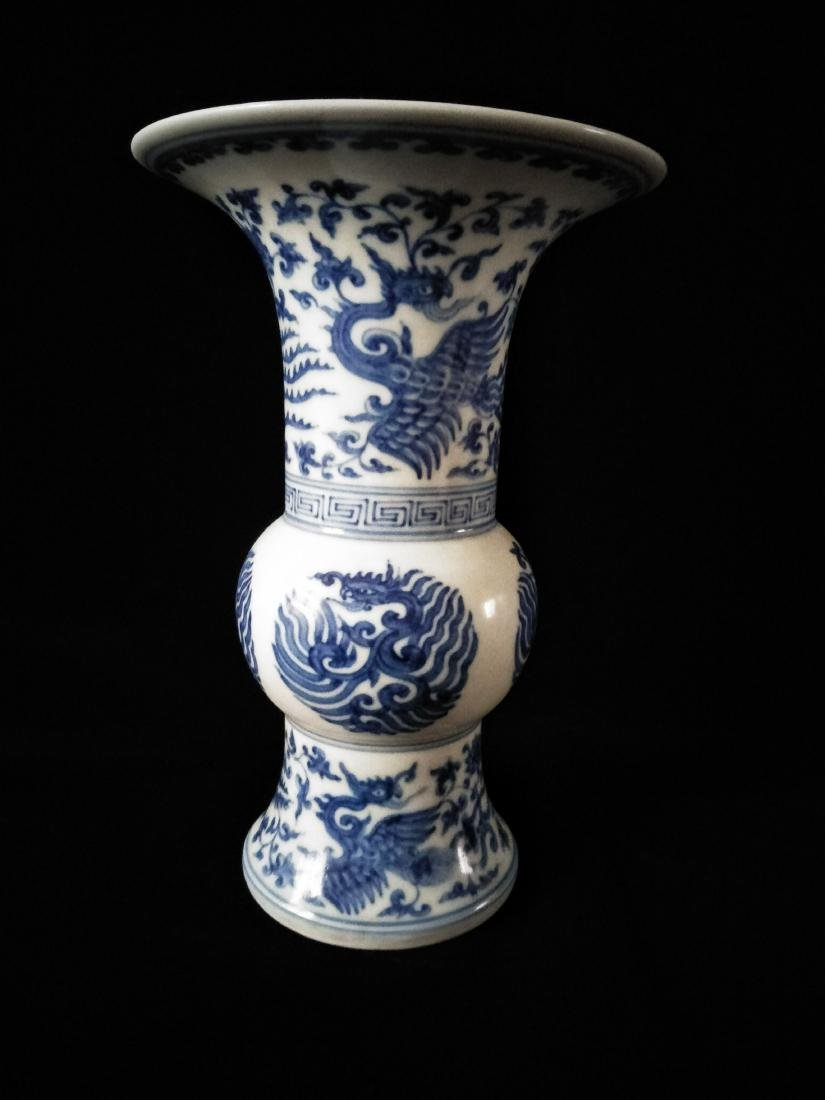 Chinese Blue and White Gu Vase Painted with Phoenix