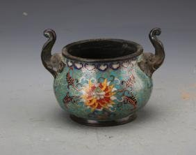 Chinese Cloisonn Enameled Censer Painted with Twine