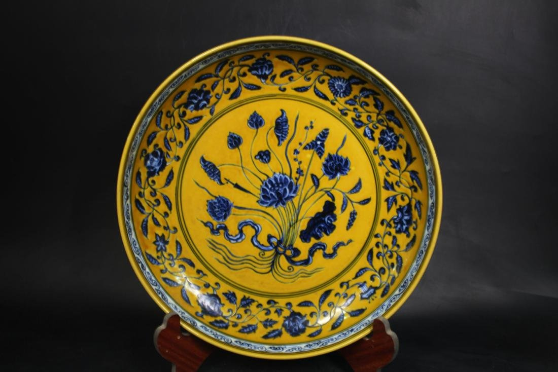 Chinese Ming Styled Blue and White Charger Painted with