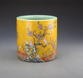 Chinese Famille Rose Brushpot Painted with Birds and