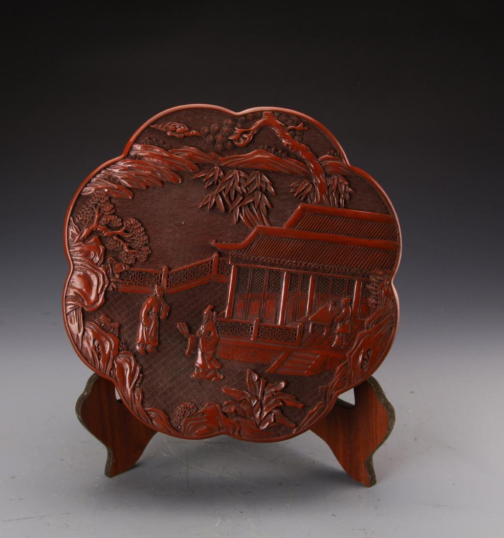 Chinese Cinnabar Lacqured Box Carved with Figures and