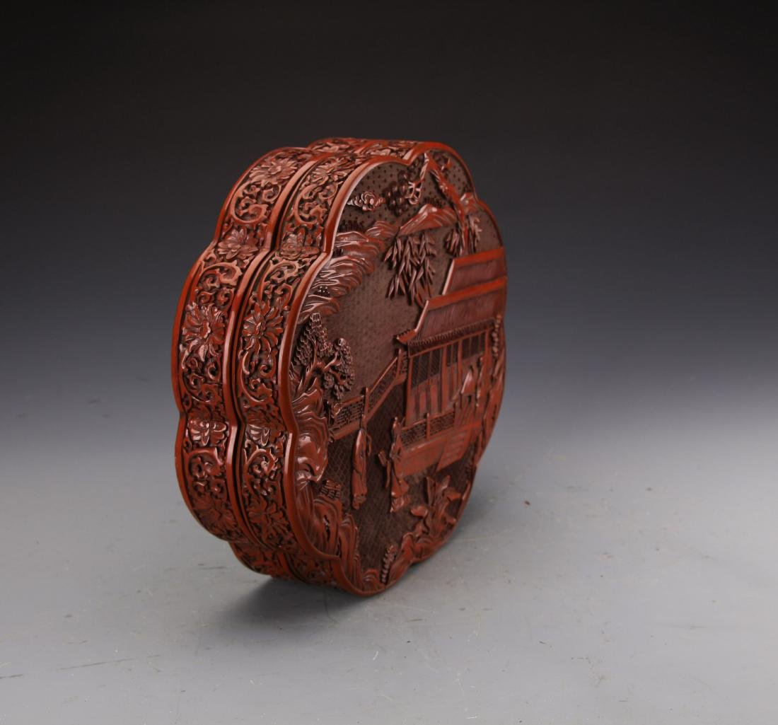 Chinese Cinnabar Lacqured Box Carved with Figures and - 2
