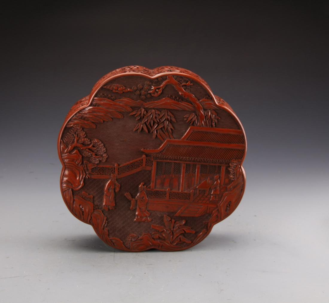 Chinese Cinnabar Lacqured Box Carved with Figures and - 3