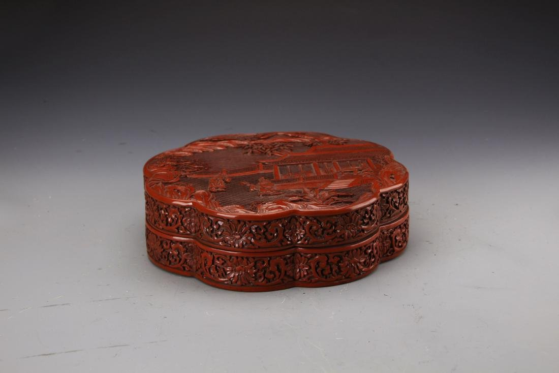 Chinese Cinnabar Lacqured Box Carved with Figures and - 4