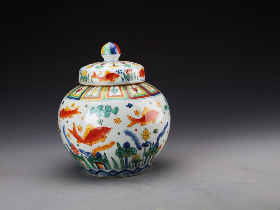Chinese Ming Styled Wucai Glazed Jar Painted with
