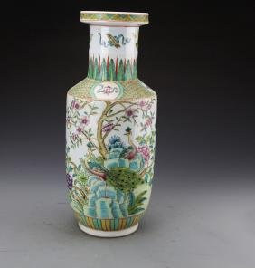 Chinese Famille Rose Vase Painted with Four Season