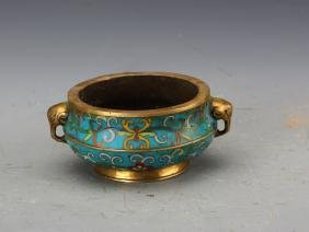 Chinese Qing Styled Cloisonn Enameled Censer Painted