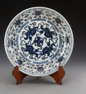 Chinese Ming Styled Blue and White Chargers Painted