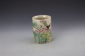 Chinese Famille Rose Brushpot Painted with Lotus and