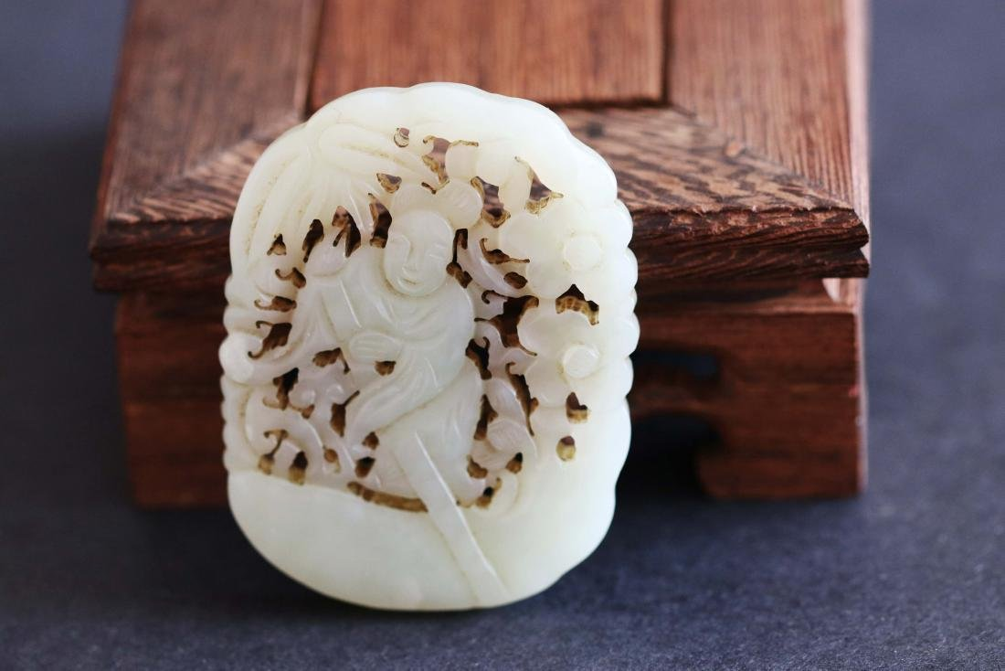 Chinese Republic Styled Hetian Jade Pendant Carved with