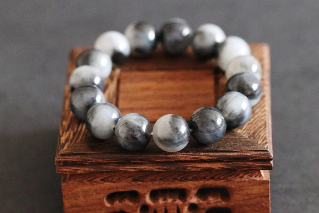 Chinese Hetian Black and White Jade Pebble Beads