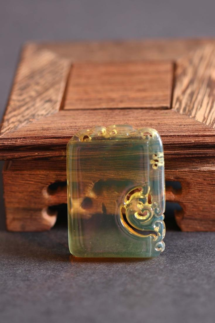 Chinese Blue Amber Carved Pendant with Dragon(10.2g)