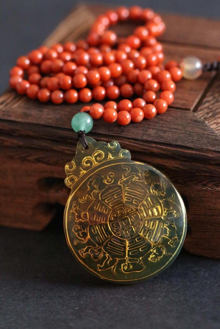 Chinese Amber Pendant with Red Agate Necklace Carved