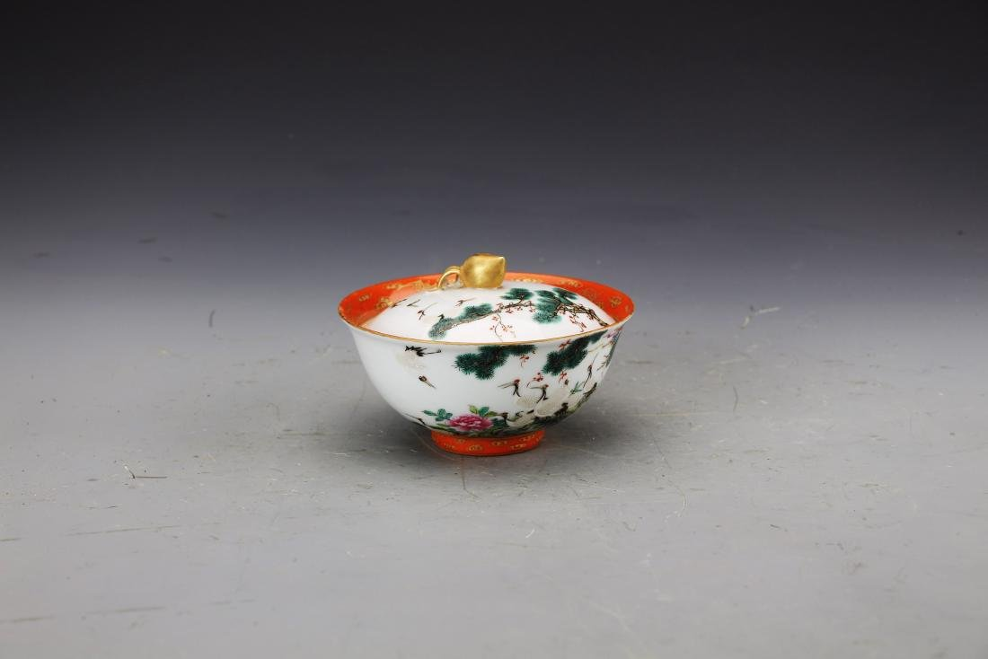 Chinese Famille Rose Bowl with Cover Painted with