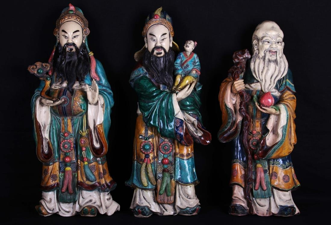 Set of Three Chinese Qing Styled Tri-Colored Statues