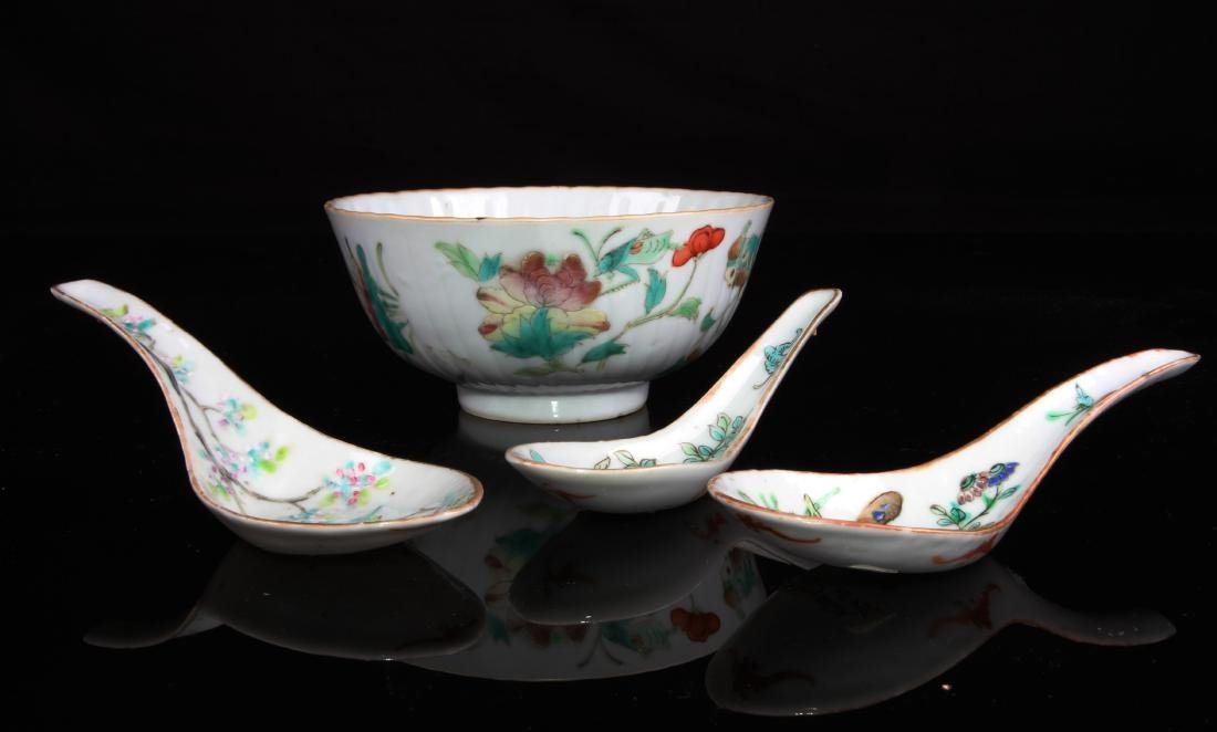 Set of  Four Chinese Famille Rose Bowl and Spoon