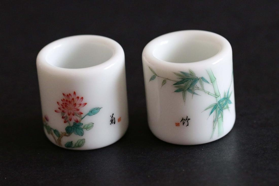 Pair Of Chinese Qing Styled Famille Rose Thumb Ring