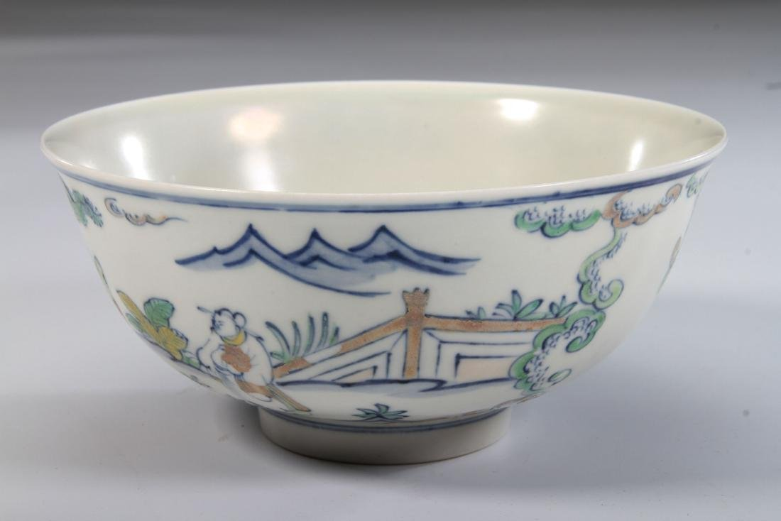 """Chinese Dou Glazed Bowl Painted with Figures Marked """"Da"""