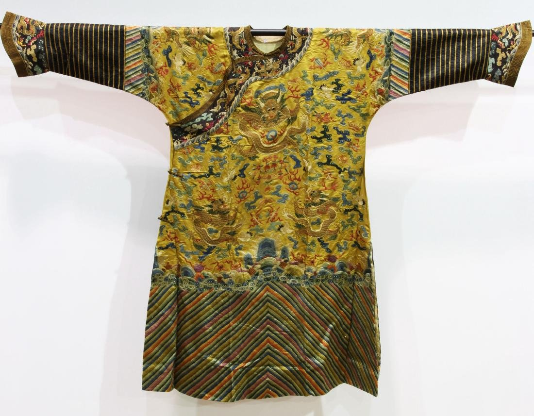 Chinese Qing Styled Imperial Yellow Brocade Embroidered
