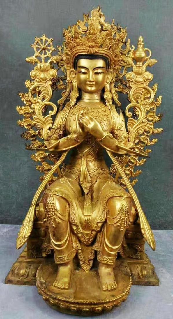 Chinese Ming Styled Gilt Bronze Maitreya L:45cm W:35cm