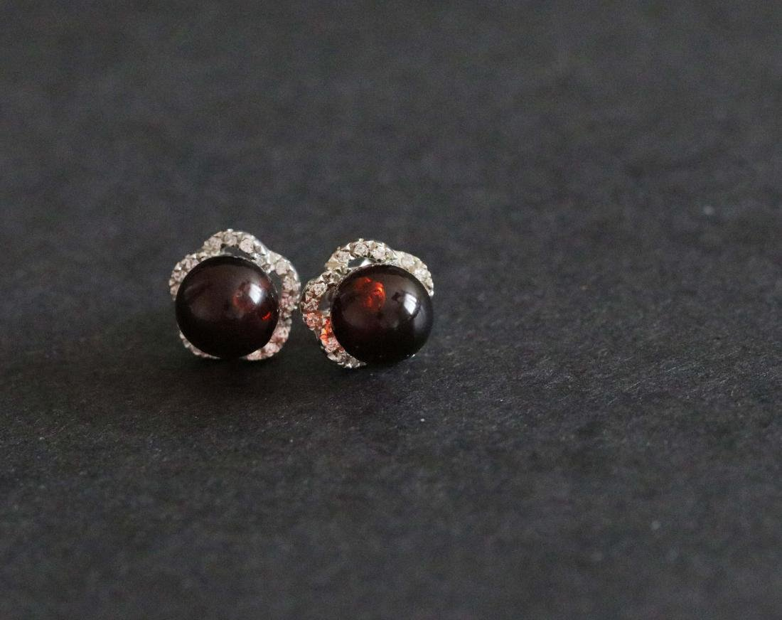 Chinese Blood Amber Earrings