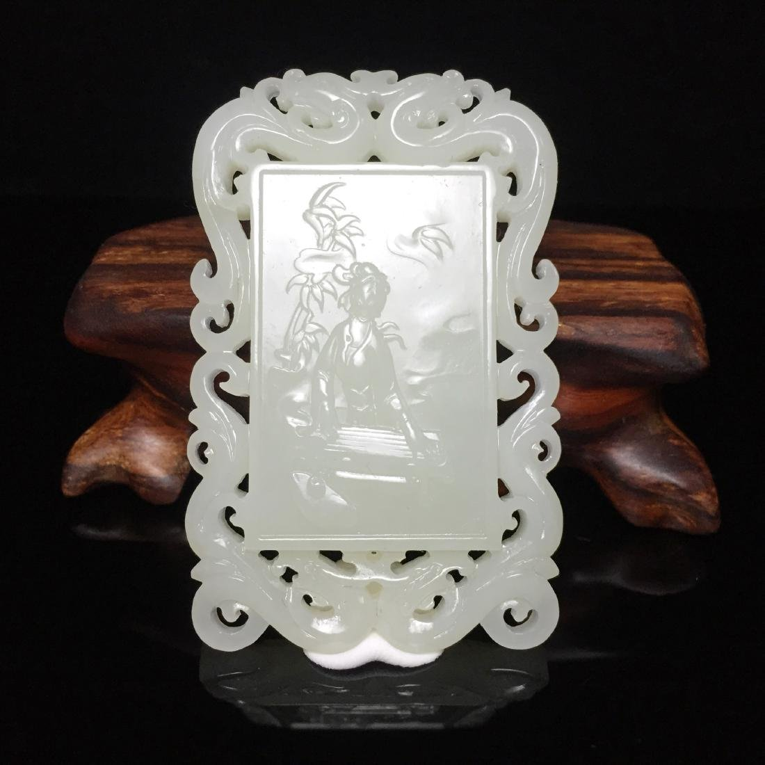 Hetian White Jade Pendant Carved with Dragon and