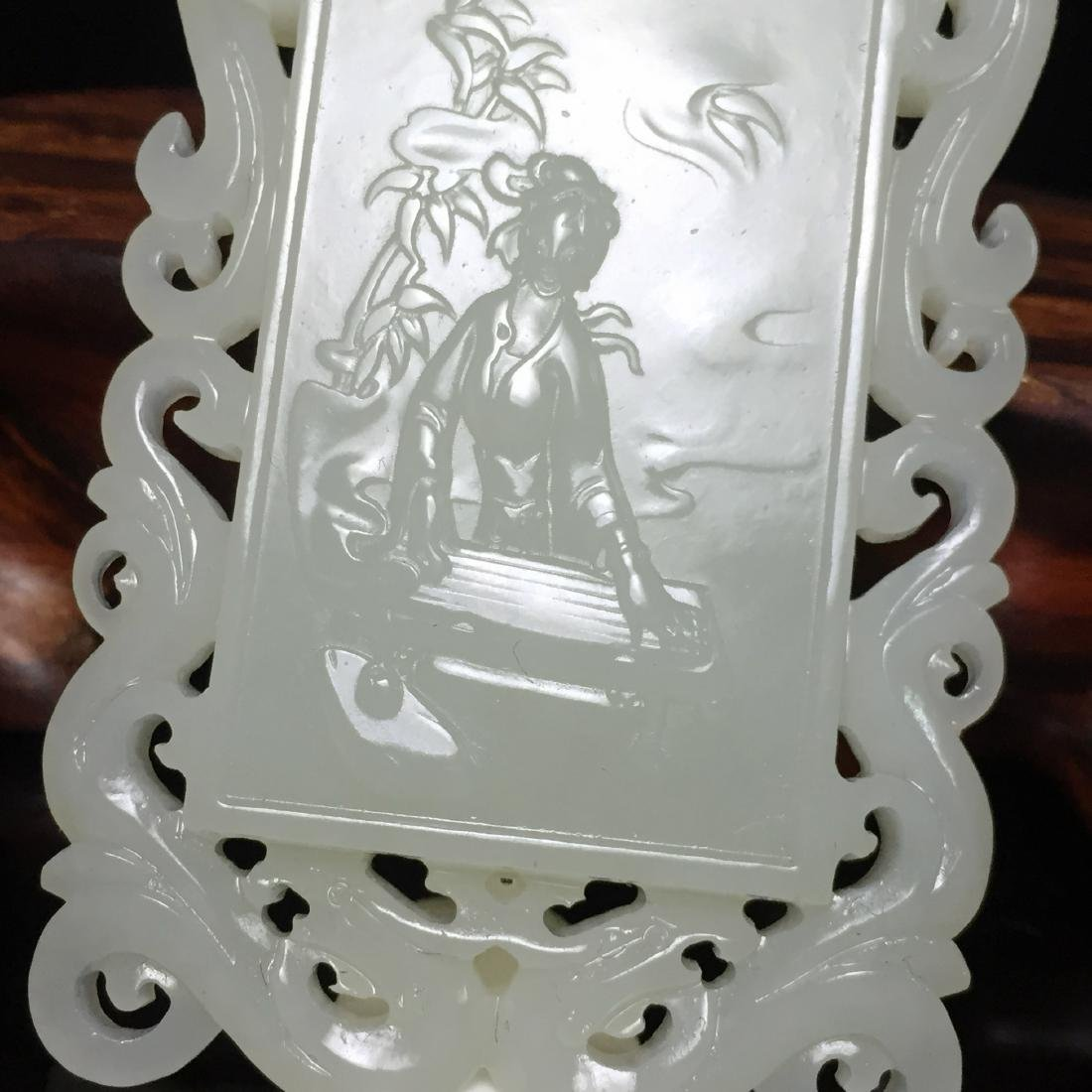 Hetian White Jade Pendant Carved with Dragon and - 3