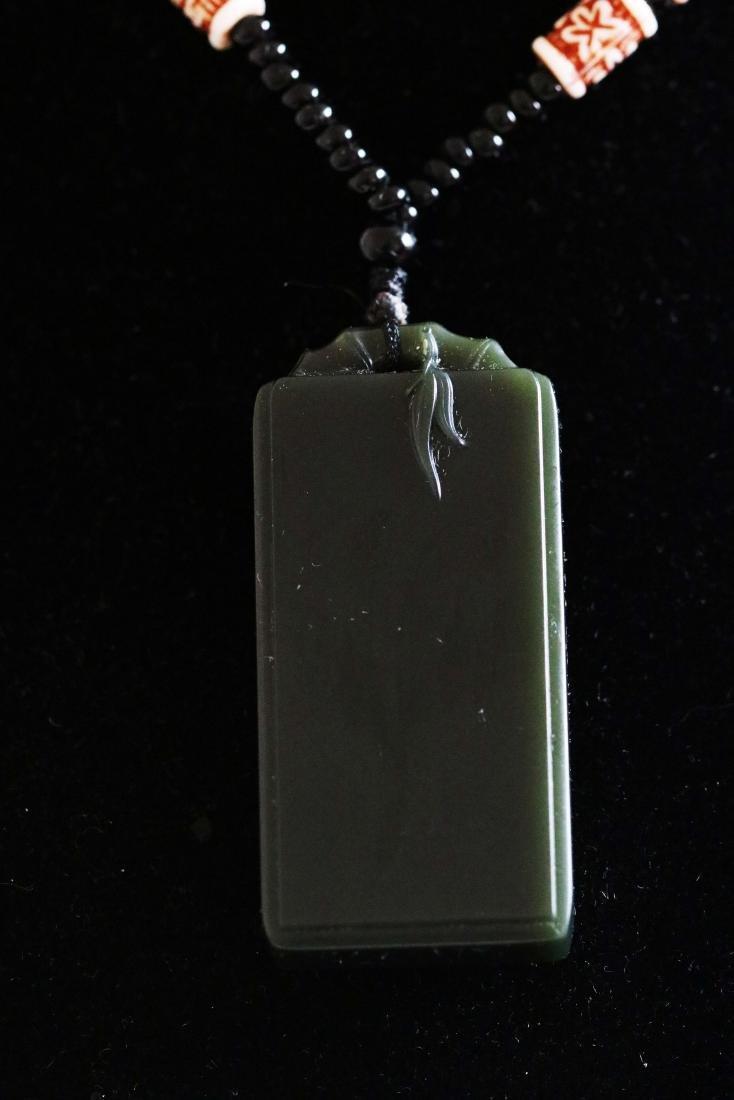 Hetian Dark Green Jade Carved Pendant with - 4