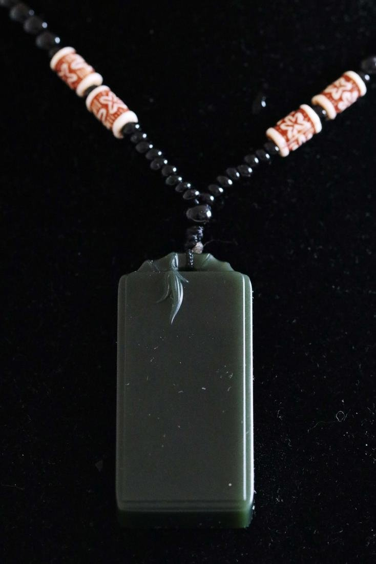 Hetian Dark Green Jade Carved Pendant with