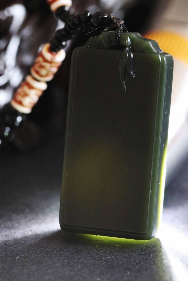 Hetian Dark Green Jade Carved Pendant with - 2