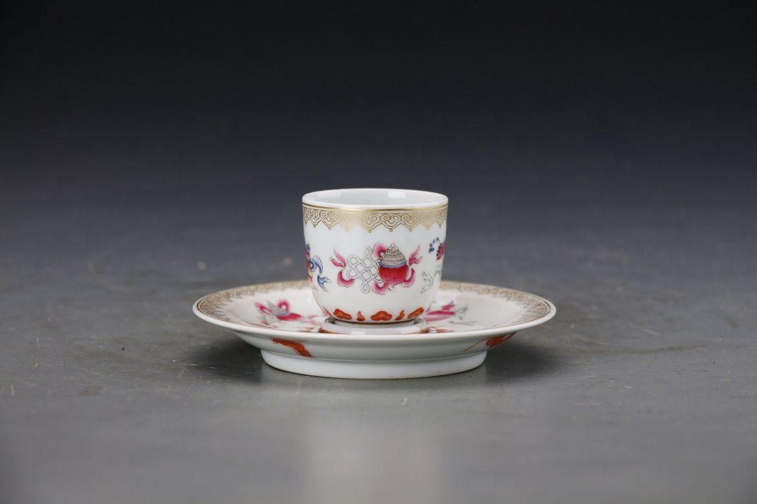 Chinese Famile Rose Cup with Holder Painted with The