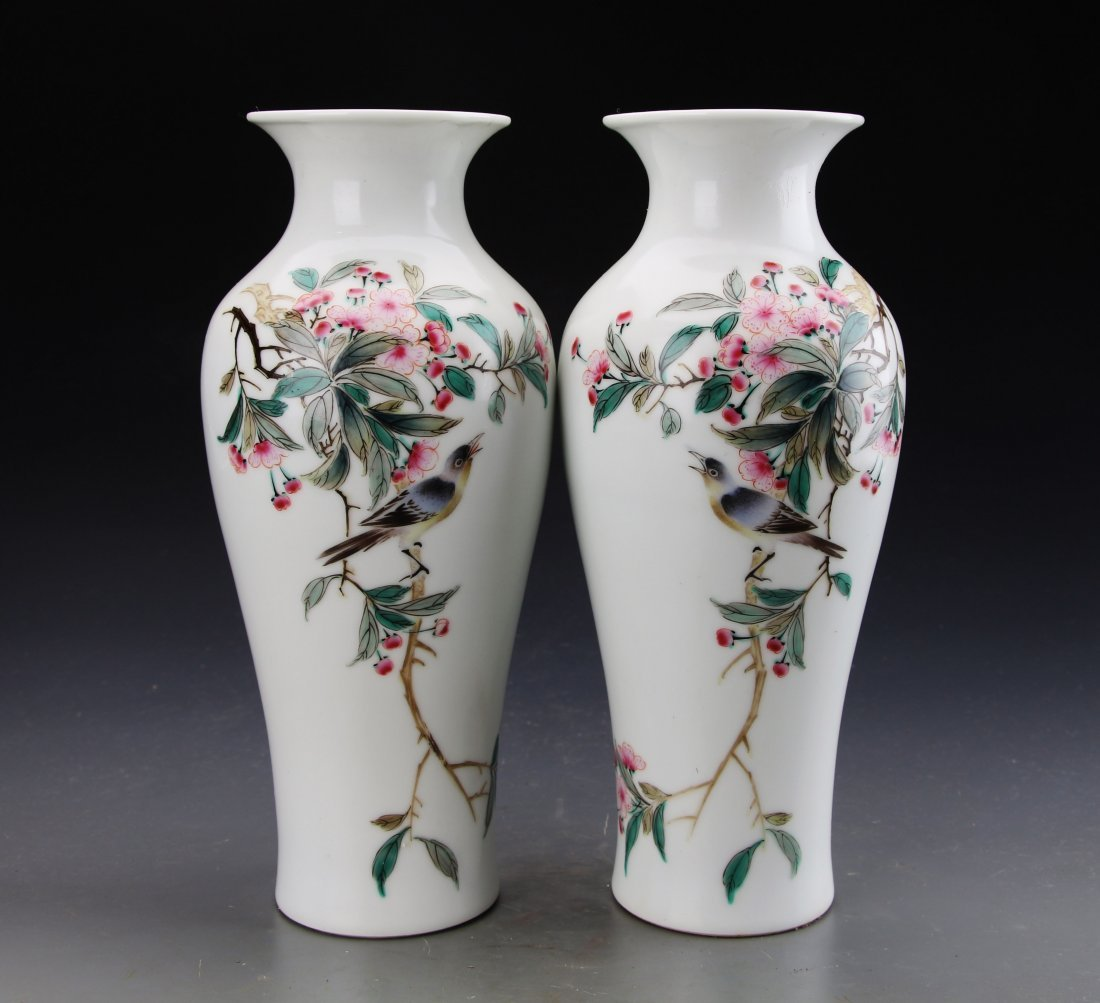 Pair of Chinese Famille Rose Flower and Birds Vase with