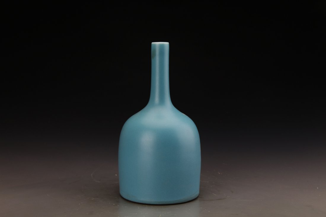 "Chinese Sky Blue Vase with Marked ""Da Qing Yong Zheng"