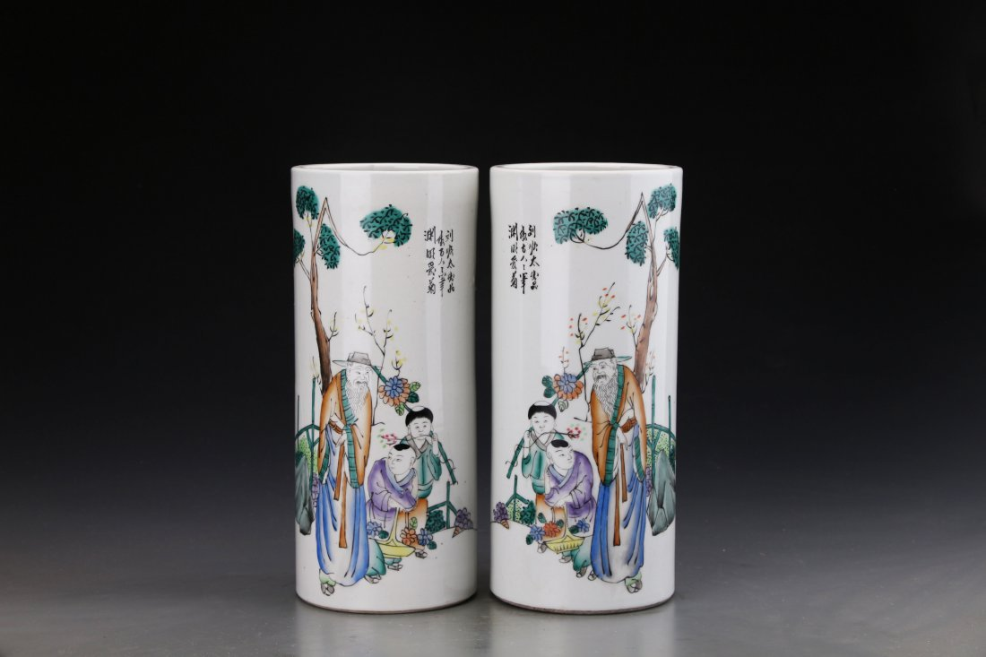 Pair of Chinese Famille Rose Hat Holders Painted with