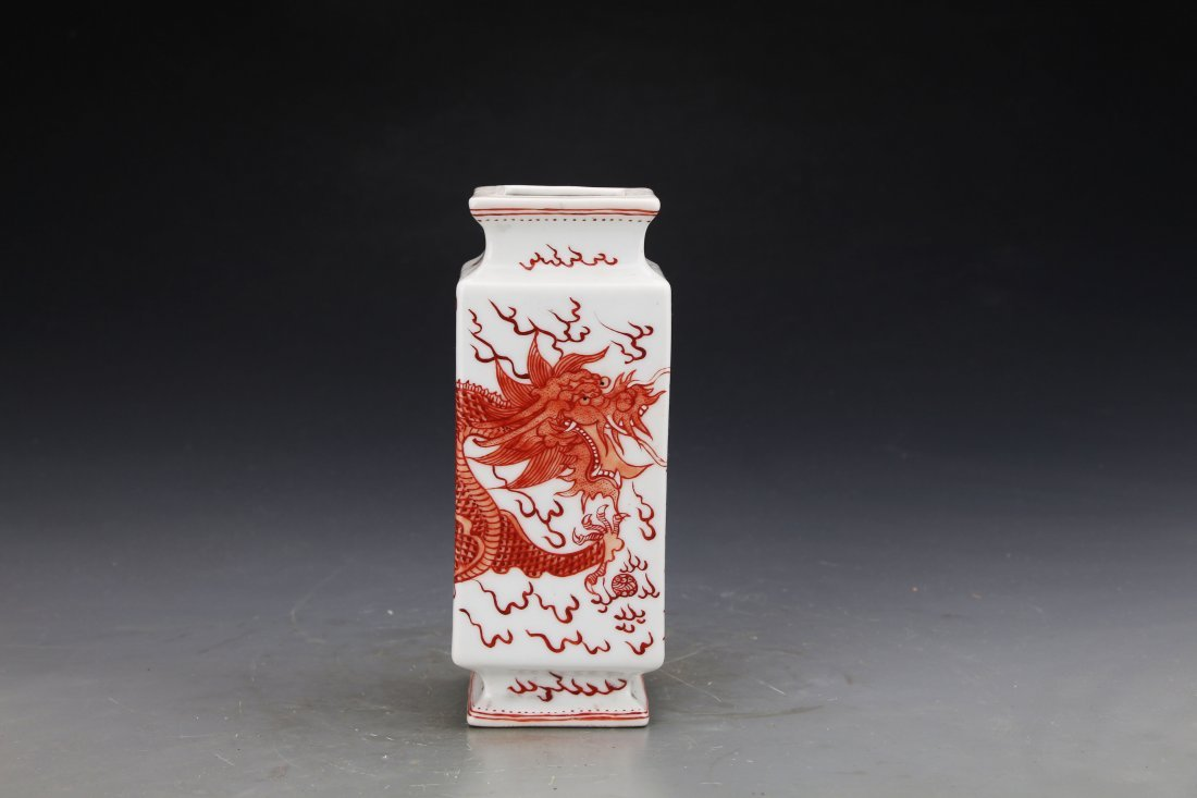Chinese Republic Style Iron Red Brush Pot Painted with