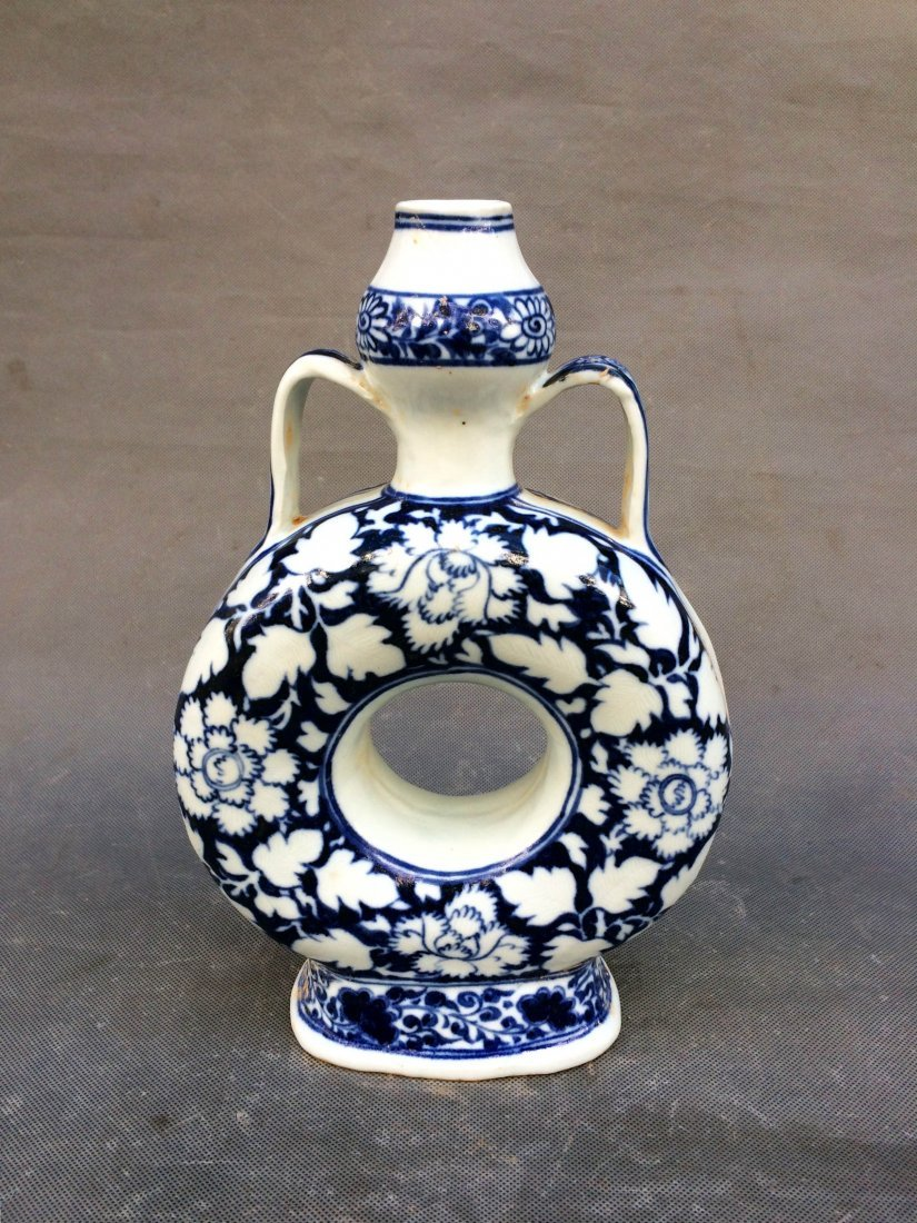 Chinese Ming Styled Blue and White Vase Painted with - 2