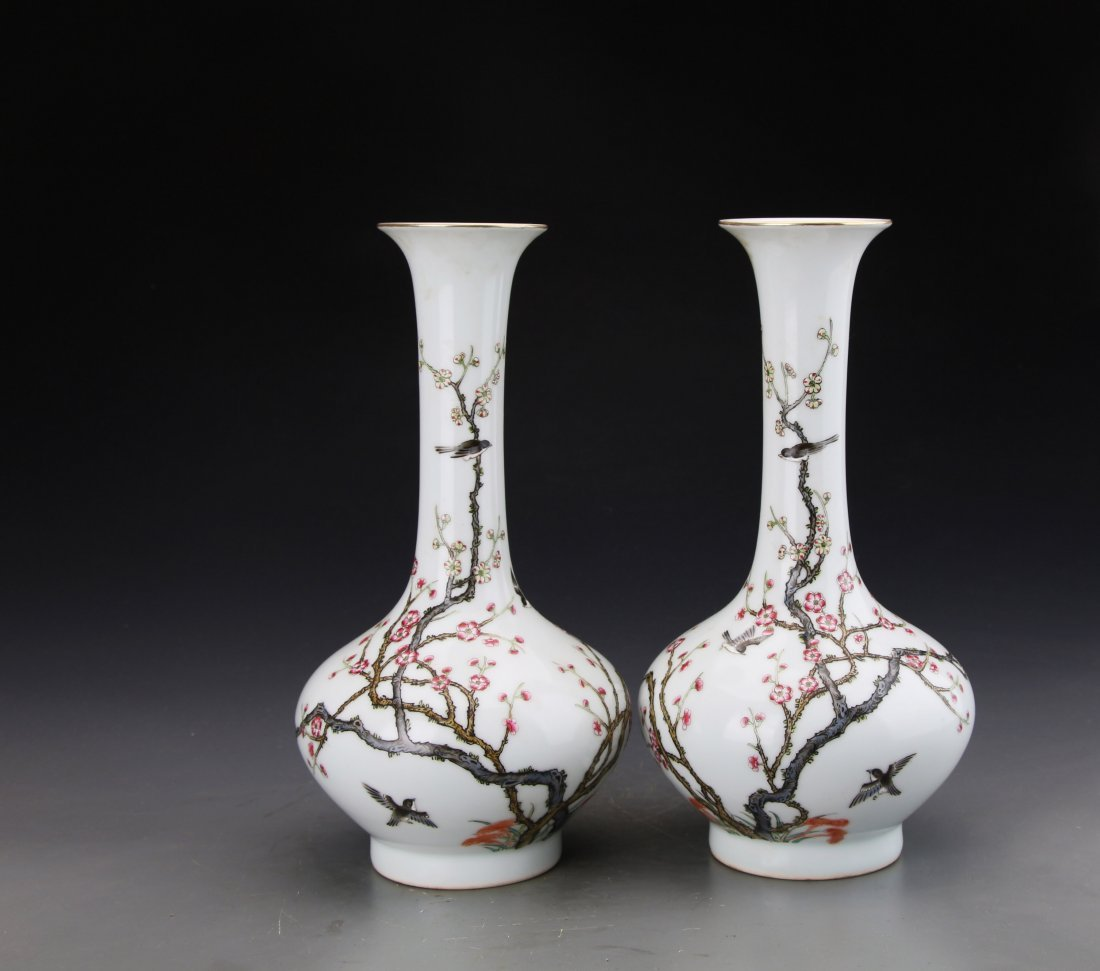 Pair of Chinese Famille Rose Vase Painted With Birds