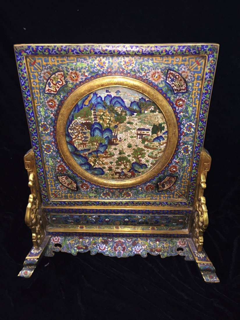 Chinese Cloisonne Table Screen Painted with Landscape