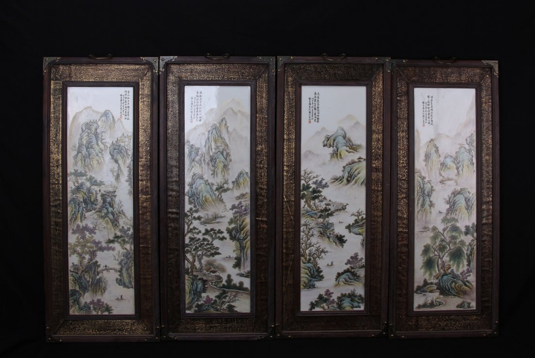 Chinese Famille Rose landscape Hanging Screen with gilt