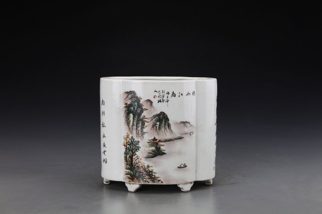 Chinese Republic Style Famille Rose Brushpot Painted