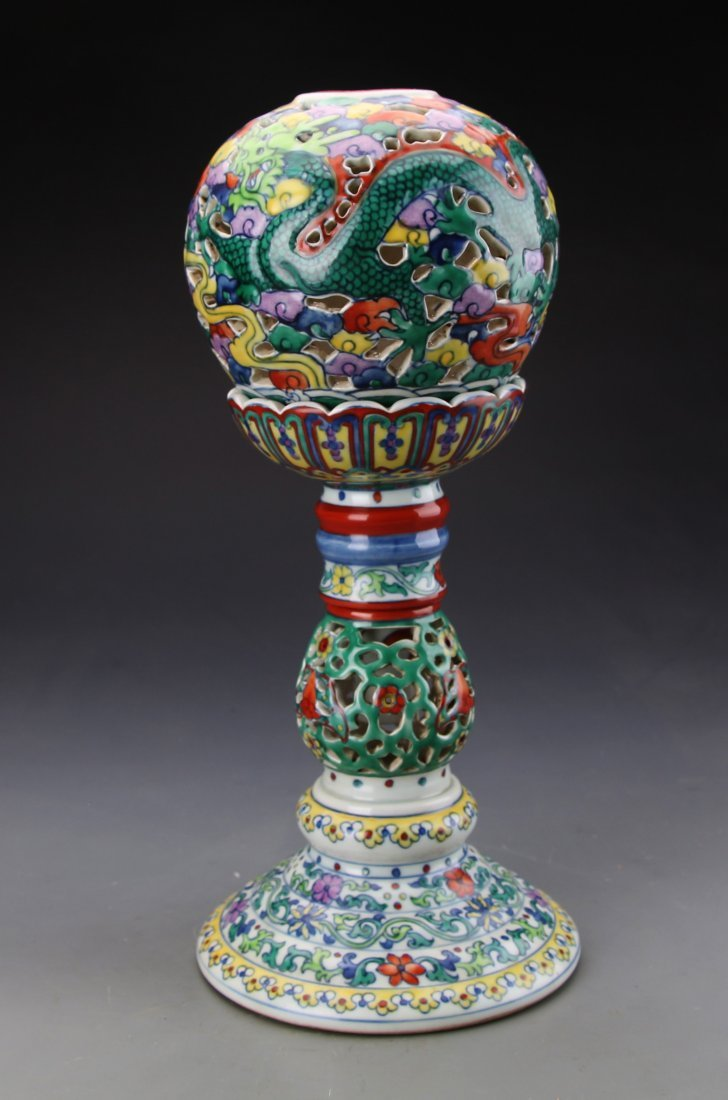 "Chinese Dou Glazed Dragon Hat Holder with Mark ""Da Qing"