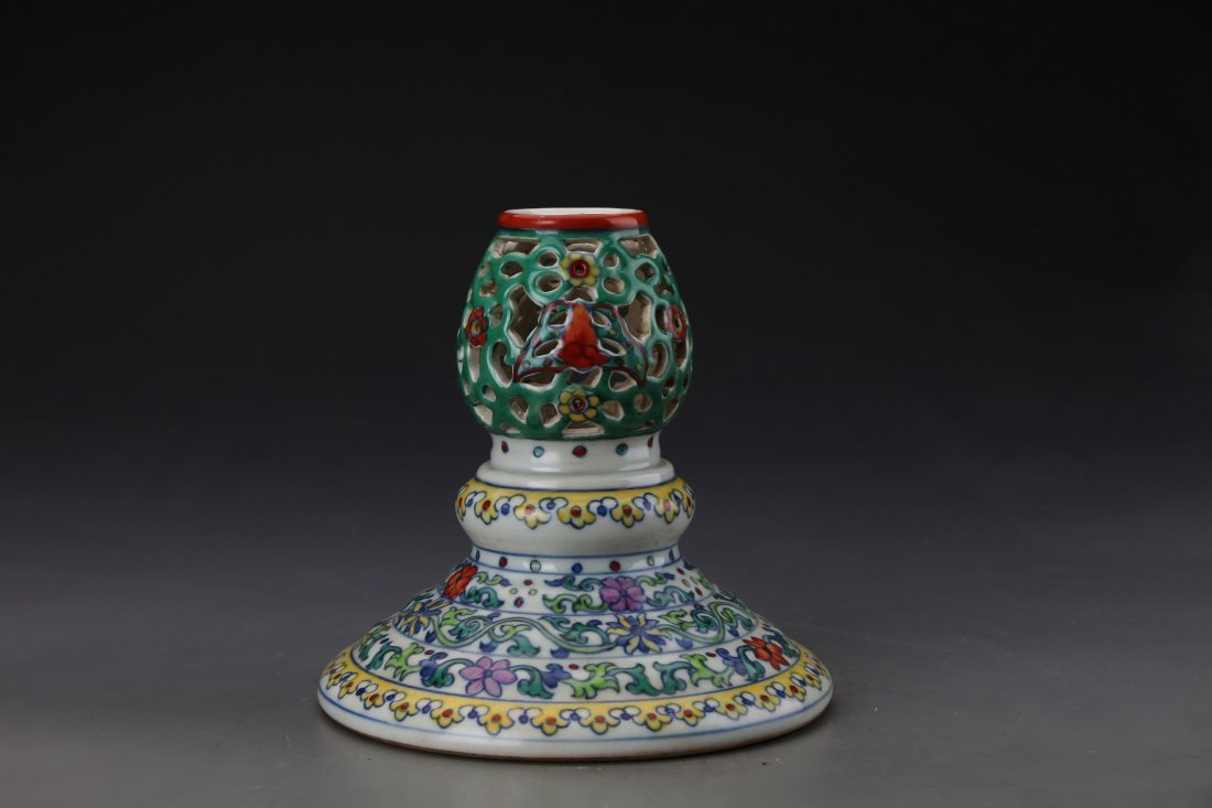 "Chinese Dou Glazed Dragon Hat Holder with Mark ""Da Qing - 5"